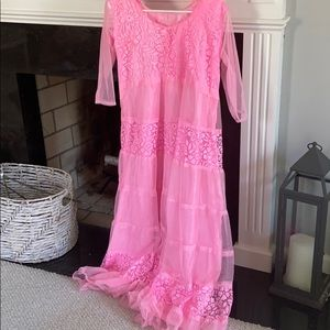 Vintage pink tulle and lace detail dress